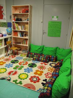 Reading corner- thinking about making one by our bookshelf in the basement...