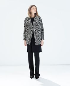 ZARA - WOMAN - PRINTED SHORT COAT WITH LAPELS