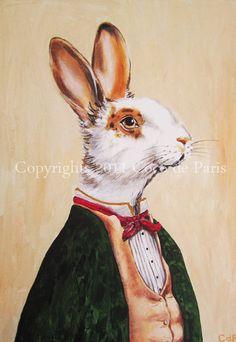 Monsieur Rabbit  Original IllustrationArt PrintArt by CocktailZoo, $10.00