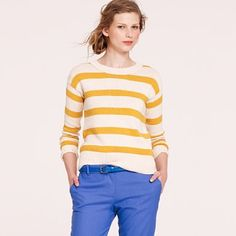 Stripebreaker sweater   $78.00 (In navy and champagne honey)
