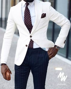 You will become such a outstanding man with ivory men suits groom wedding tuxedos stripe pants formal business suits groomsmen suits man blazer bride cos The Suits, Suit And Tie, Cool Mens Suits, Mens Dress Trousers, Men Dress, Jacket Dress, Suit Jacket, Mode Masculine, Tuxedo Stripe Pants