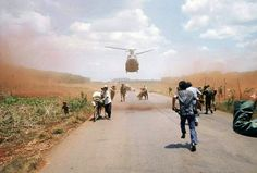 South Vietnamese flee Saigon April 1975 with the help of the U.S. military. American involvement in the Vietnam War came to an end when troops from communist North Vietnam invaded Saigon, the capital of the Republic of Vietnam in the South. (Photo by Dirck Halstead/Getty Images)