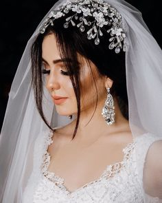 Wedding - All For New Hairstyles Hairdo Wedding, Elegant Wedding Hair, Headpiece Wedding, Wedding Beauty, Muslim Wedding Dresses, Wedding Gowns, Bridal Portrait Poses, Bridal Veils And Headpieces, Headpiece Jewelry