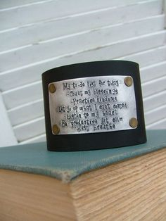 www.MyBellaMarketplace.com  #MyBellaMarketplace  Custom Leather Cuff My To Do List For Today Lessons In Kindness Listen Just Breathe Hand Stamped 2 Inch Firm Black Leather Cuff by MyBella