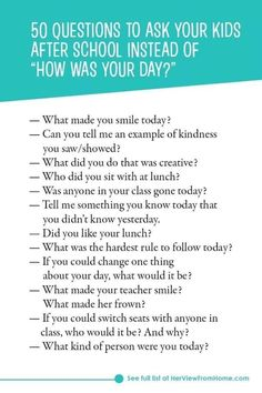 "50 questions you should ask your children after school instead of ""how w . - 50 questions you should ask your kids after school instead of ""how was your day? Parenting Teens, Kids And Parenting, Parenting Hacks, Gentle Parenting, Parenting Quotes, Parenting Goals, Parenting Classes, Funny Parenting, Parenting Styles"