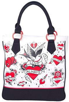 www.brokencherry.com #rocknroll #sourpuss #rockabilly #flashtattoos #tattoos #tote #heart Tattooed Heart Tote Bag  $42.00