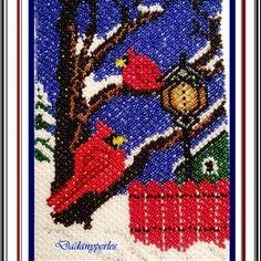 Patron de tapisserie en tissage danois oiseaux cardinal