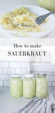 Learn how to make sauerkraut with this simple fermented food recipe and video tutorial. Support gut health with probiotic rich fermented foods. Homemade Sauerkraut, Sauerkraut Recipes, Cabbage Recipes, Fermentation Recipes, Canning Recipes, Kitchen Recipes, Best Probiotic Foods, Fermented Foods, Pork