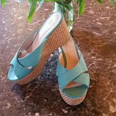 Simply Pellle Turquoise Straw Wedge Size 7M Excellent condition - Leather simply Pellle  Shoes Wedges