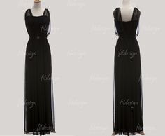 black bridesmaid dress long prom dress long by fitdesign on Etsy, $109.00