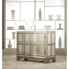 Hooker Furniture 638-85054 Melange Mirrored Plaid Chest in Light Wood