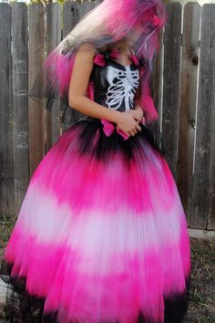 Black hot pink skeleton day of the dead halloween costume with corset ties and matching veil undead bride size 0-3 small XS. $299.00, via Etsy.