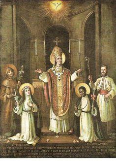 Saints of Peru: St. Francis Solanus, St. Rose of Lima, St.Turibius of Mongrovejo, St. Martin de Porres, and St. Juan Macias