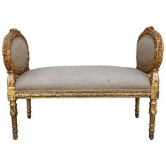 Carved Giltwood Louis XVI Style Bench | From a unique collection of antique and modern benches at https://www.1stdibs.com/furniture/seating/benches/