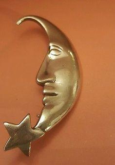 Beau 926 Sterling silver Half Moon pin brooch modernist