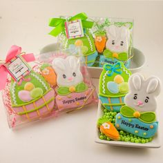 Easter Cookie Gift Set Bunny and Basket by TSCookies on Etsy, $10.00