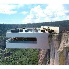 On the Edge: A Cantilevered Restaurant Overhangs Mexico's Copper Canyon - Arch. - nikita punk - - On the Edge: A Cantilevered Restaurant Overhangs Mexico's Copper Canyon - Arch. Cantilever Architecture, Architecture Design, Amazing Architecture, Contemporary Architecture, Cliff House, Glass Floor, Modern House Design, Exterior, Mansions