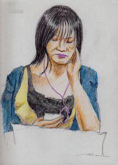 『青いカーディガンのお姉さん(通勤電車でスケッチ)』 Sketch of a woman listening to music. I drew on the train going to work towards the company.