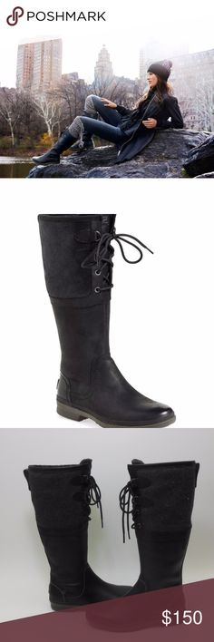 """UGG Australia Elsa Tall Black Leather Winter Boots Authentic new with out box This rain-ready boot will keep you warm and dry wherever you are thanks to sealed seams, waterproof leather and a traction-enhancing outsole. Soft suede and smooth leather make this boot as trendy as it is practical. -  1/2"""" heel - 15"""" boot shaft; 15"""" calf circumference. - Lace-up style, -side zip closure. -Leather upper/UGGpurelining/rubber sole.  psku 146 UGG Shoes Winter & Rain Boots"""