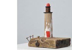 Leuchtturm Leuchtfeuer Lighthouse Driftwood Nagel Schraube Gewinde Treibholz Tür Metallschrott