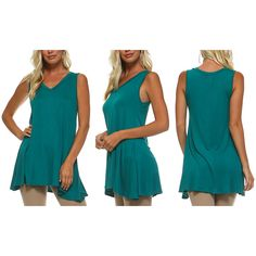 Women's Isaac Liev Women's Sleeveless Flowy V-Neck TopJade/Small ($17) ❤ liked on Polyvore featuring tops, green, tops & tees, green v neck top, green sleeveless top, no sleeve tops, v-neck tops and blue green tops