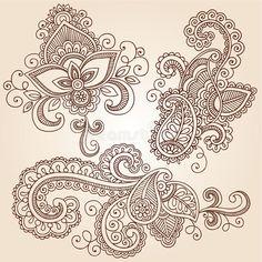 Illustration about Hand-Drawn Henna Paisley Flowers Mehndi Doodles Abstract Floral Vector Illustration Design Elements. Illustration of lace, design, mhendi - 25834949 Paisley Flower Tattoos, Paisley Tattoo Design, Mandala Tattoo Design, Henna Tattoo Designs, Mehndi Designs, Paisley Doodle, Henna Doodle, Henna Mehndi, Henna Art