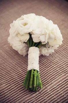 Pure white wedding bouquet with lace.- what are these flowers? Like the lace
