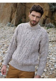 202d6e4631c193 CABLE KNIT CREW NECK SWEATER Made from 100% Wool Colours available  Oatmeal  Nep www