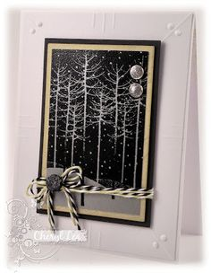 "By Cheryl Lea. Uses Hero Arts ""Winter Trees"" stamp."