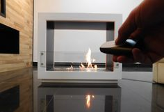 Remote controlled free standing ethanol fireplace with automatic ignition http://www.a-fireplace.com/ethanol-fireplace/ AFIRE