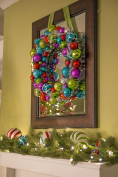This amazing ornament wreath from @Martha Stewart Living is done in dazzling bright holiday colors. Designed with a mixture of shiny, matte, and glitter finishes for a fun and festive part of the holiday season.