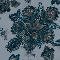 Blue Coral Floral Printed Crinkled Chiffon