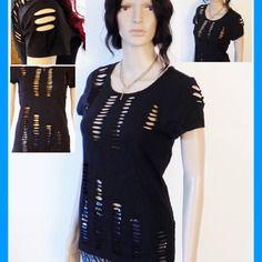 Original top femme motif  !! slashed !! en coton noir t: m long:60cm belicious-delicious-creation