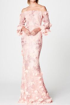 Marchesa Notte Blush Pastel Pink Off Shoulder 3D Embroidered Gown | Poshare