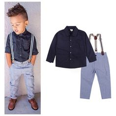 Baby Boy Gentleman Formal Suits Little Boys T-shirt+Suspender Trousers Overall Outfits Autumn Clothing Set Children Kids Clothes