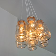 Mason jar light chandelier by Clarksallpurpose