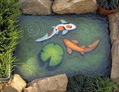 25 lb slate landscaping stone painted to look like fish pond by Michelle Fontaine