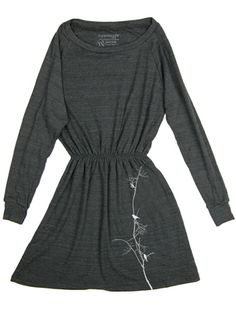 Supermaggie Birds On Branch Heather Black Pullover Dress Size Large