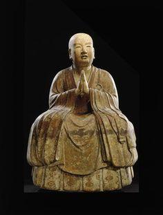 Portrait de Fuku Sanzo, quatrième patriarche de la secte Shingon.  Epoque de Kamakura XIII-XIV couleur, encre et poudre d'or (kindei) sur soie