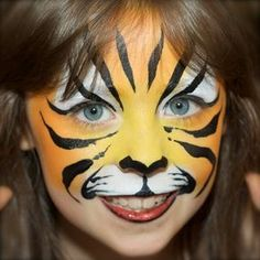 Pixies Face Painting Gallery Animal Face Paintings, Animal Faces, Tiger Face Paints, Simple Tiger Face Paint, Kids Zoo, Kids Makeup, Le Roi Lion, Child Face, Painting Gallery