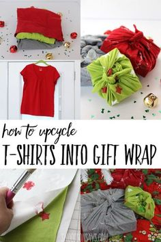 Upcycle a stack of old t-shirts into eco-friendly gift wrapping! Photo tutorial & video for how to make furoshiki from old t-shirts. Three different decoration methods shared, too! #upcycle #christmas #ecofriendly #crafts Upcycled Home Decor, Upcycled Crafts, Handmade Crafts, Diy Crafts, Upcycled Clothing, Upcycled Furniture, Fabric Crafts, Repurposed, Christmas Sewing