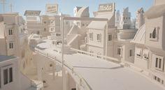 paper white city - watch the animation here: http://strictlypaper.com/blog/2012/02/lavazza-favola-a-modo-mio/
