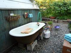 Outdoor tub   clawfoot hot tub   Pinterest