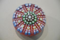 Red Perthshire Patterned Millefiori Paperweight
