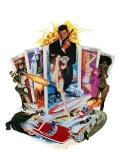 "jamesbondlexicon: ""Textless Bond movie posters - Diamonds Are Forever, Moonraker, Live & Let Die, View To A Kill """