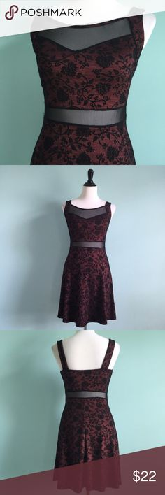 Red & Black Floral Dress Black and red textured floral dress. Mesh cutout on waist and top of neckline. Sweetheart neckline and fit & flare shape. Comfortable and stretchy. Size small. Unsure of brand. Dresses