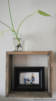 These Easy Box Shelves are perfect for any room in your house. Display your favorite knick-knacks, plants, photos, and more! Visit cleverbloom.com for a step by step tutorial.
