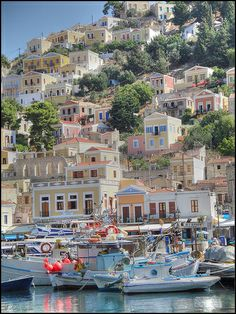 Harbour, Island of Simi, Greece Seems like a lot more housing since our trip in 1968 Mykonos Greece, Crete Greece, Athens Greece, Beautiful Places To Travel, Romantic Travel, Empire Ottoman, Greek Isles, Venice Travel, Greece Islands