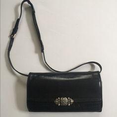 Brighton Leather Wallet Black Crossbody Organizer Purse