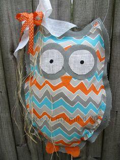 Owl Burlap Door Hanger Door Decoration Chevron by nursejeanneg, $28.00